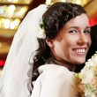 Beautiful and happy couple get married indoors — Stock Photo