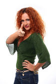 Mid aged redhead attractive woman showing on you — Stock Photo