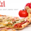 Image of fresh italian pizza and vegetables — Stock Photo