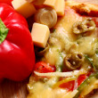Closeup of tasty italian pizza with vegetables — Stock Photo