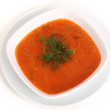 Image of bowl of hot red soup isolated — Lizenzfreies Foto