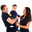 Beautiful caucasian couple with baby isolated — Foto de Stock