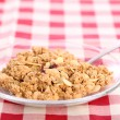 Healthy wholegrain muesli in a plate — Stock Photo