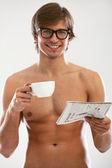 Divertente ritratto di giovane uomo nudo — Foto Stock