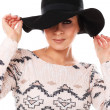 Young beautiful woman in hat — Stock Photo