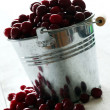 Fresh cranberries in a silver bucket — 图库照片