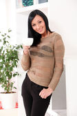 Young beautiful woman with cup — Stock Photo