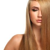 Caucasian woman with long beautiful hair — Stock Photo
