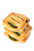 Crunchy fresh pies with greens — Stock Photo