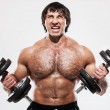 Muscular guy working out with dumbbells — Stock Photo #22190423