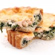Fresh tart with shrimps and green - Stock Photo