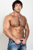 Muscular young man with naked torso — Stock Photo
