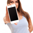 Young caucasian woman with smartphone — Stock Photo