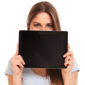 Young caucasian woman with tablet PC — Stock Photo