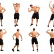 Image of young bodybuilder in different poses — Stock Photo