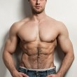 Handsome muscular guy with naked torso — Stock Photo #24984975