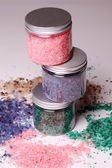 Natural bath salt in a boxes — Stock Photo