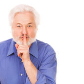 Handsome elderly man asks to silence — Stock Photo