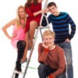 Happy brothers and sisters with the stairs — Stock Photo #25254963