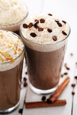 Ice coffee with whipped cream — Stock Photo
