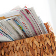 Closeup image of magazines in a box — Stock Photo