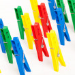 Closeup image of colorful clothespins — Stock Photo