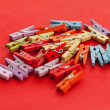 Closeup image of colorful office clothespins — Stock Photo