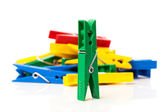 Closeup image of colorful clothespins — 图库照片