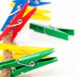 Closeup image of colorful clothespins on a cord — Stock Photo