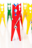 Closeup image of colorful clothespins — ストック写真