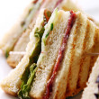 Club sandwich with meat and green — Stock Photo