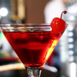 Pink martini cocktail in a bar — Stock Photo