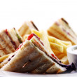 Stock Photo: Club sandwich with meat and green