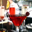 Stock Photo: Various cocktails on bar stage