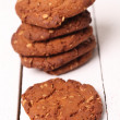 Homemade outmeal brown cookies on a table — Foto de Stock