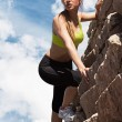 Beautiful young woman in fitwear climbing — Stock Photo