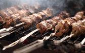 Fresh meat on a steel skewer in a brazier — Stock Photo