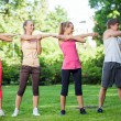 Young caucasians working out in a park — Stock Photo #27528467