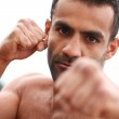 Angry handsome man shirtless — Stock Photo #28725133
