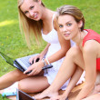 Beautiful girls using laptops at a park — Stock Photo