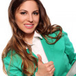 Business woman in green suit — Stock Photo