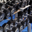 A set up with many dumbbells — Stock Photo