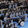 A set up with many dumbbells and a man — Foto Stock