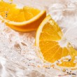 Stock Photo: Slices of an orange in water