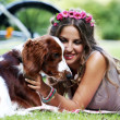 Beautiful girl with a dog — Stock Photo