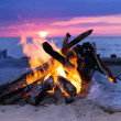 Bonfire on the beach — ストック写真