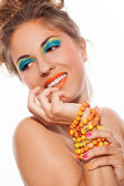 Woman with artistic makeup — Stock Photo