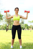 Beautiful woman working out with dumbbells — Stock Photo