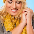 Beautiful blonde in hat and scarf — Stock Photo #37489867
