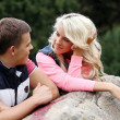 Young couple expressing their feelings at park — Stock Photo #37483635